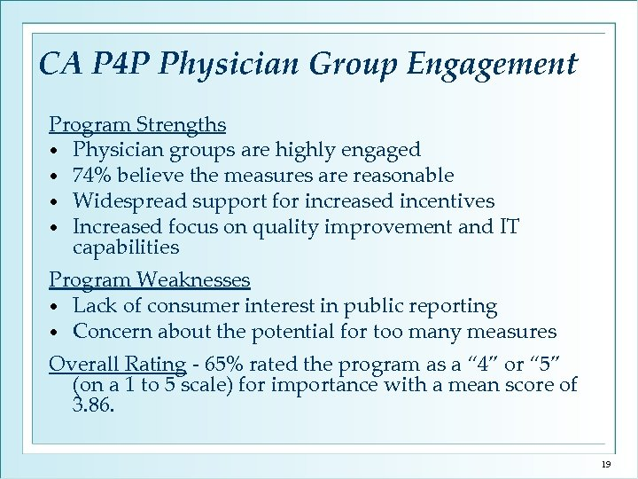 CA P 4 P Physician Group Engagement Program Strengths • Physician groups are highly