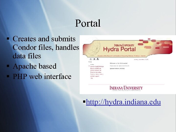 Portal § Creates and submits Condor files, handles data files § Apache based §