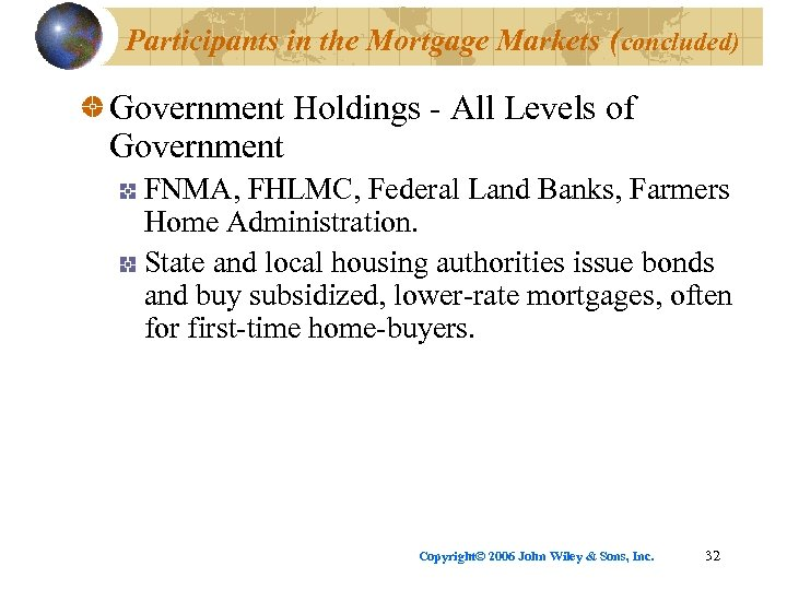 Participants in the Mortgage Markets (concluded) Government Holdings - All Levels of Government FNMA,