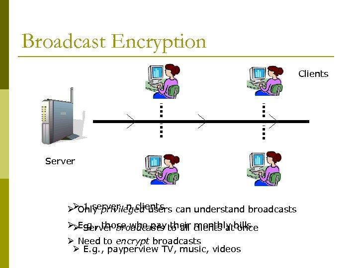 Broadcast Encryption Clients Server ØØ 1 server, n clients can understand broadcasts Only privileged