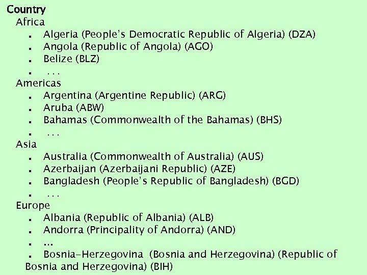 Country Africa. Algeria (People's Democratic Republic of Algeria) (DZA). Angola (Republic of Angola) (AGO).