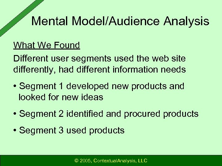 Mental Model/Audience Analysis What We Found Different user segments used the web site differently,