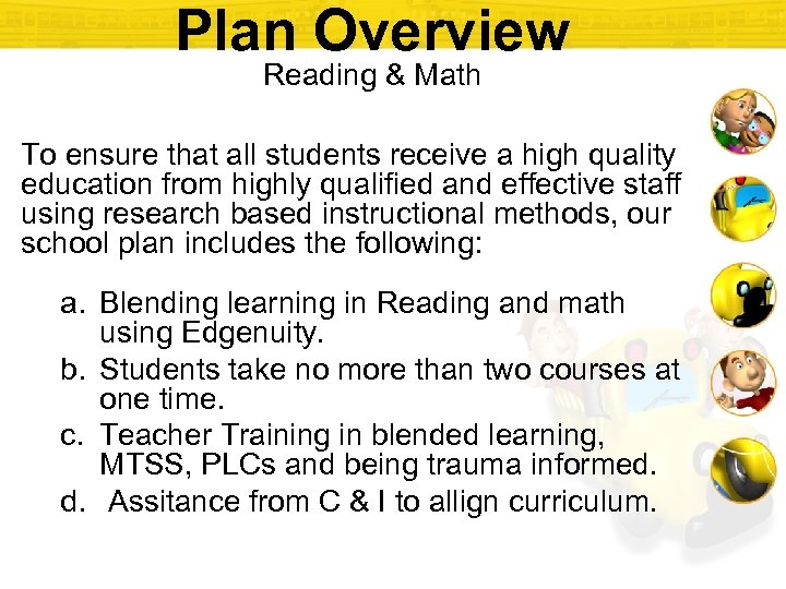 Plan Overview Reading & Math To ensure that all students receive a high quality