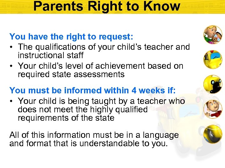 Parents Right to Know You have the right to request: • The qualifications of