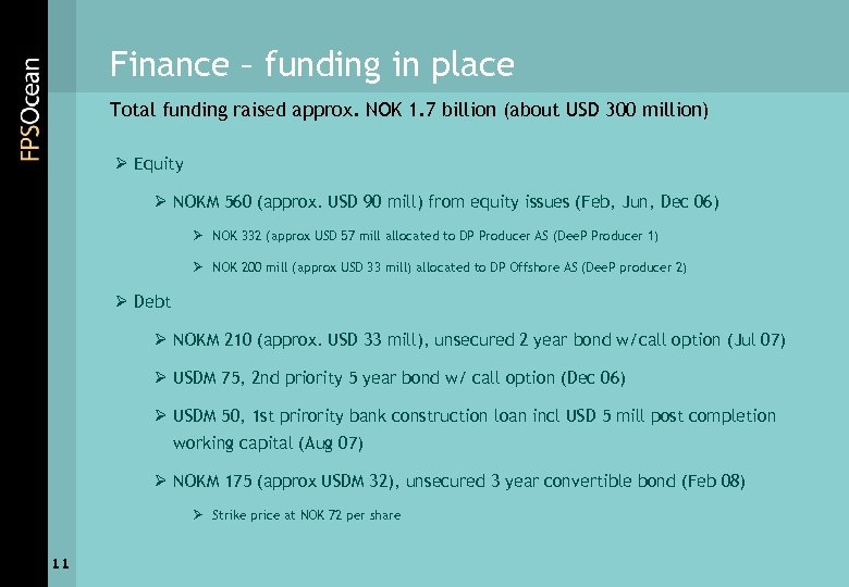 Finance – funding in place Total funding raised approx. NOK 1. 7 billion (about