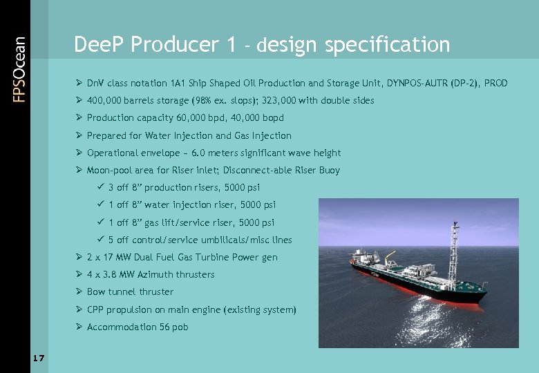 Dee. P Producer 1 - design specification Ø Dn. V class notation 1 A