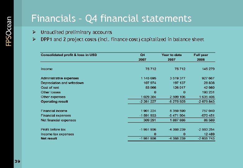 Financials – Q 4 financial statements Ø Unaudited preliminary accounts Ø DPP 1 and