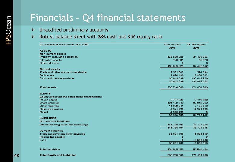 Financials – Q 4 financial statements Ø Unaudited preliminary accounts Ø Robust balance sheet