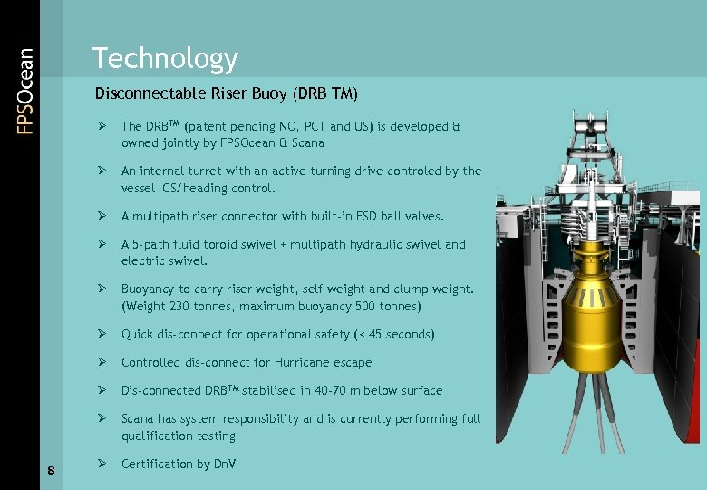 Technology Disconnectable Riser Buoy (DRB TM) Ø Ø An internal turret with an active
