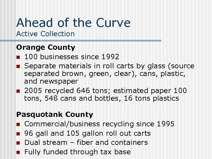Ahead of the Curve Active Collection Orange County n 100 businesses since 1992 n