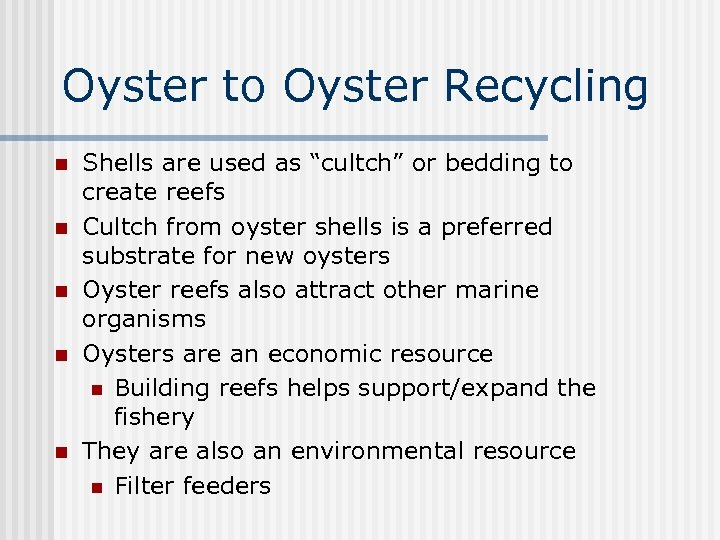 """Oyster to Oyster Recycling n n n Shells are used as """"cultch"""" or bedding"""