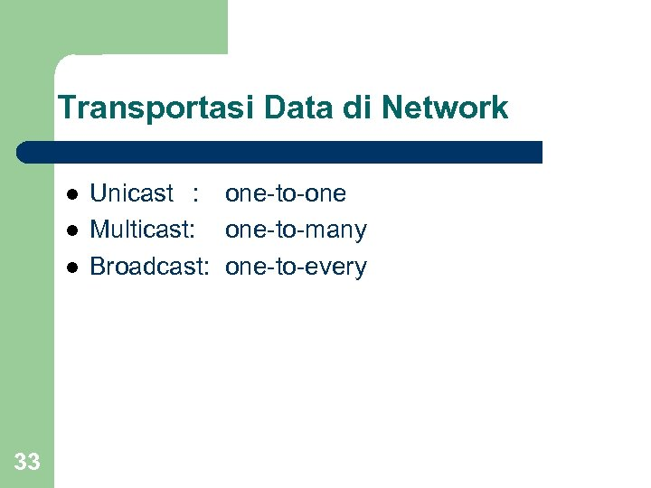 Transportasi Data di Network l l l 33 Unicast : one-to-one Multicast: one-to-many Broadcast: