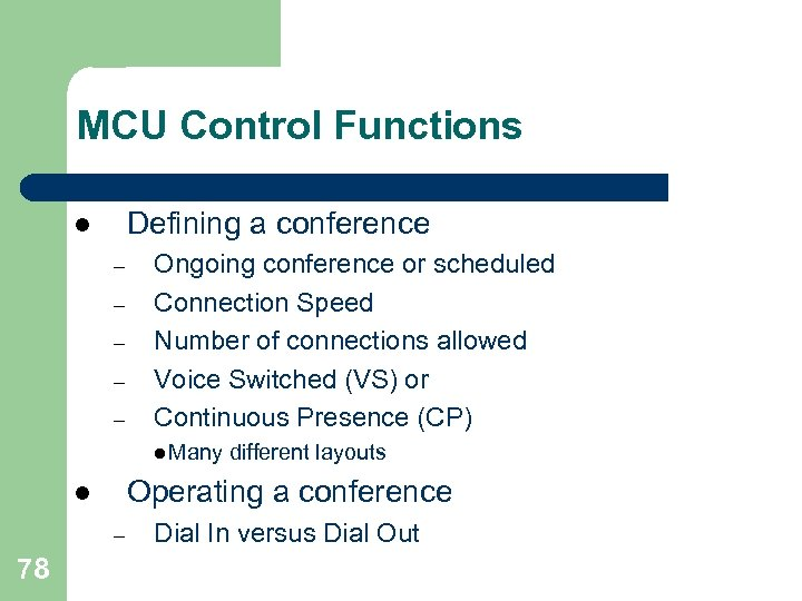 MCU Control Functions Defining a conference l – – – Ongoing conference or scheduled