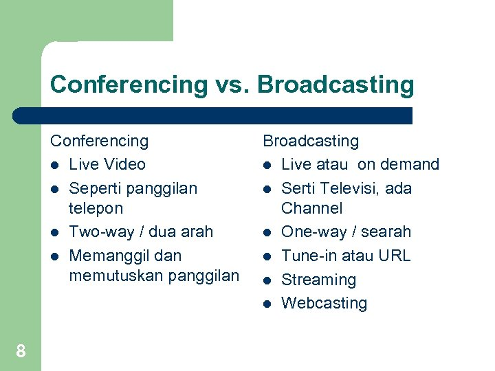 Conferencing vs. Broadcasting Conferencing l Live Video l Seperti panggilan telepon l Two-way /
