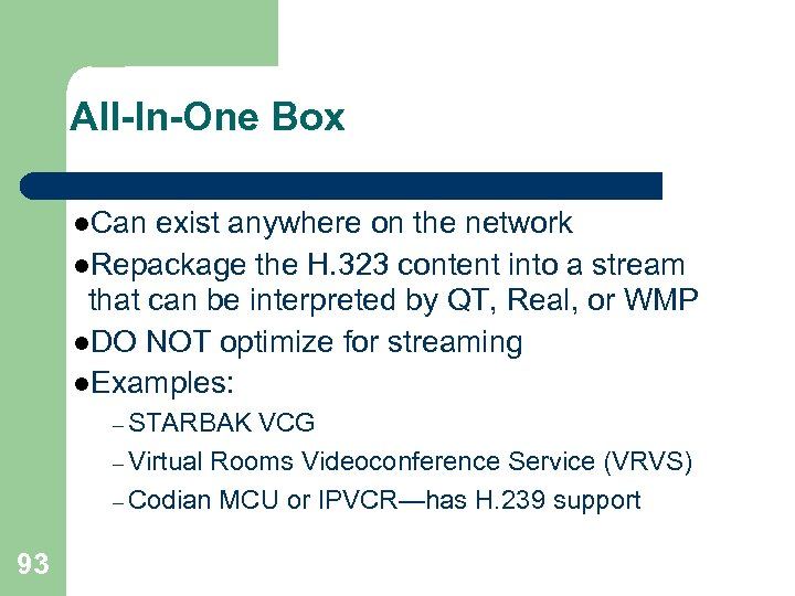 All-In-One Box l. Can exist anywhere on the network l. Repackage the H. 323