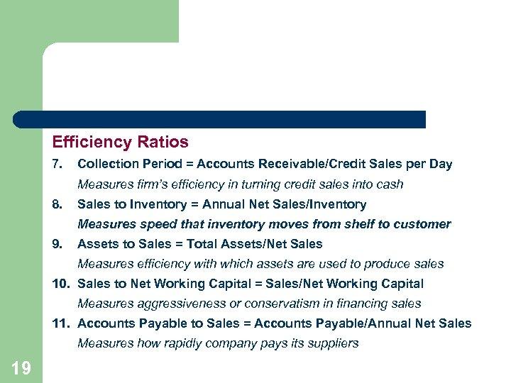 Efficiency Ratios 7. Collection Period = Accounts Receivable/Credit Sales per Day Measures firm's efficiency