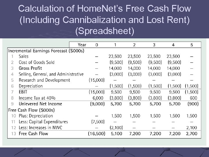 Calculation of Home. Net's Free Cash Flow (Including Cannibalization and Lost Rent) (Spreadsheet)