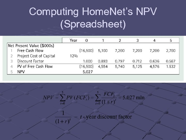 Computing Home. Net's NPV (Spreadsheet)