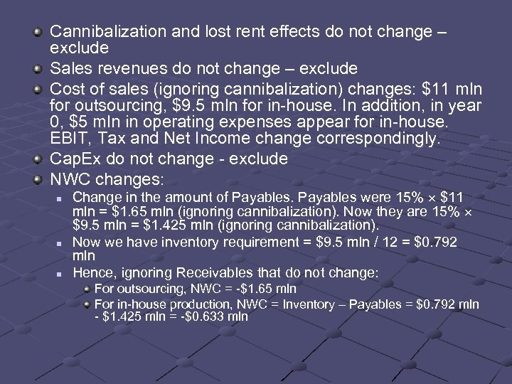 Cannibalization and lost rent effects do not change – exclude Sales revenues do not