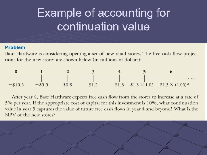 Example of accounting for continuation value