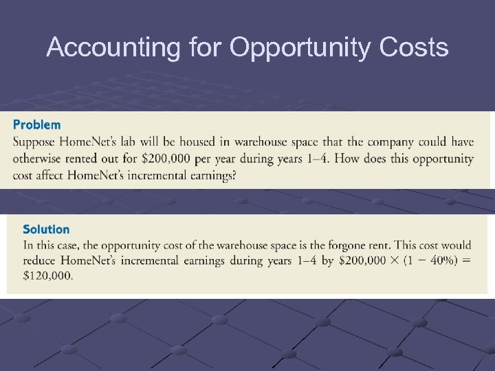 Accounting for Opportunity Costs