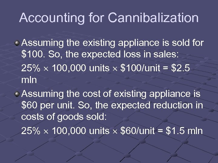 Accounting for Cannibalization Assuming the existing appliance is sold for $100. So, the expected