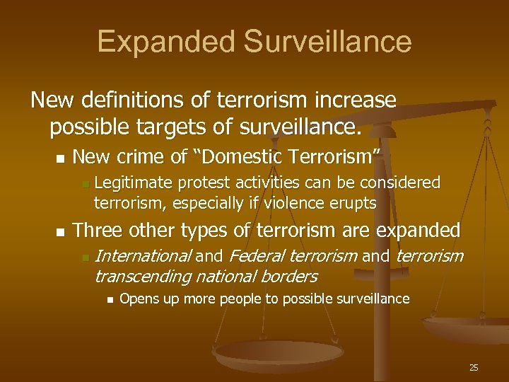Expanded Surveillance New definitions of terrorism increase possible targets of surveillance. n New crime