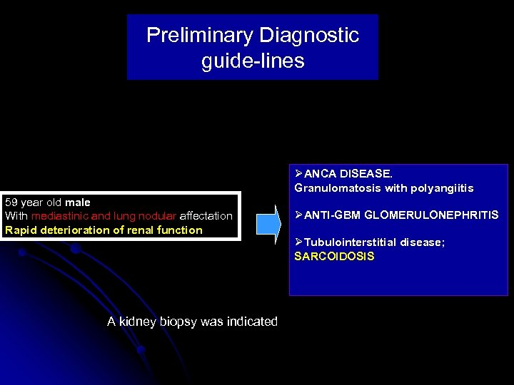 Preliminary Diagnostic guide-lines ØANCA DISEASE. Granulomatosis with polyangiitis 59 year old male With mediastinic