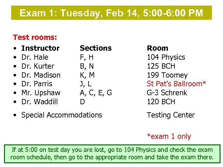 Exam 1: Tuesday, Feb 14, 5: 00 -6: 00 PM Test rooms: • Instructor