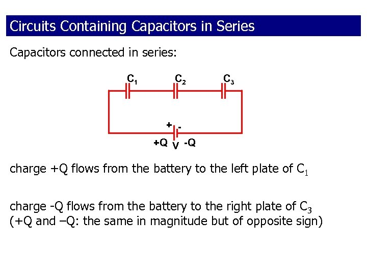 Circuits Containing Capacitors in Series Capacitors connected in series: C 1 C 2 C