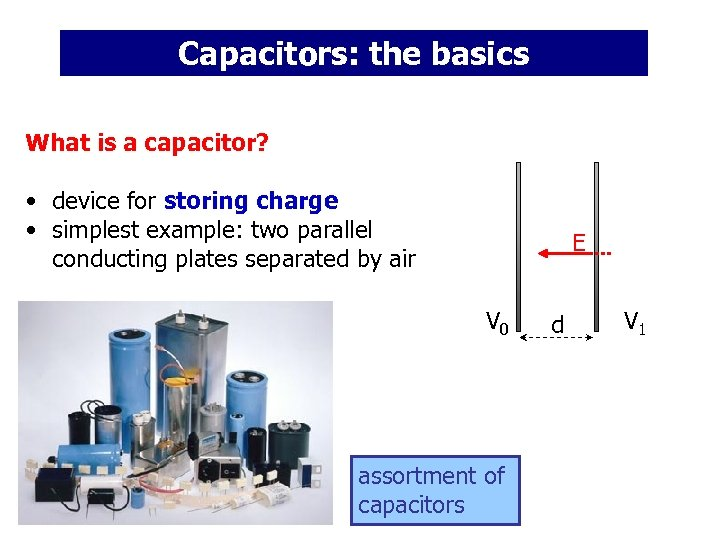 Capacitors: the basics What is a capacitor? • device for storing charge • simplest