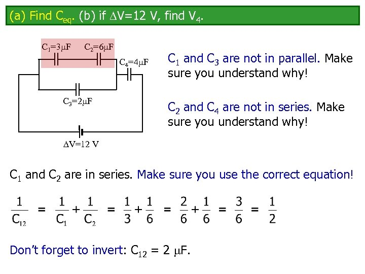 (a) Find Ceq. (b) if V=12 V, find V 4. C 1=3 F C