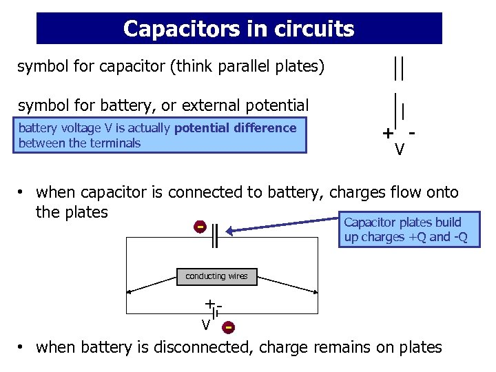 Capacitors in circuits symbol for capacitor (think parallel plates) symbol for battery, or external
