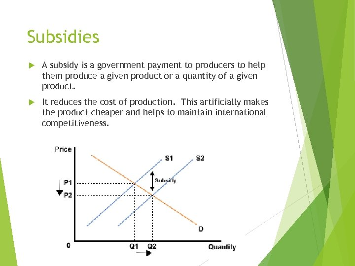 Subsidies A subsidy is a government payment to producers to help them produce a