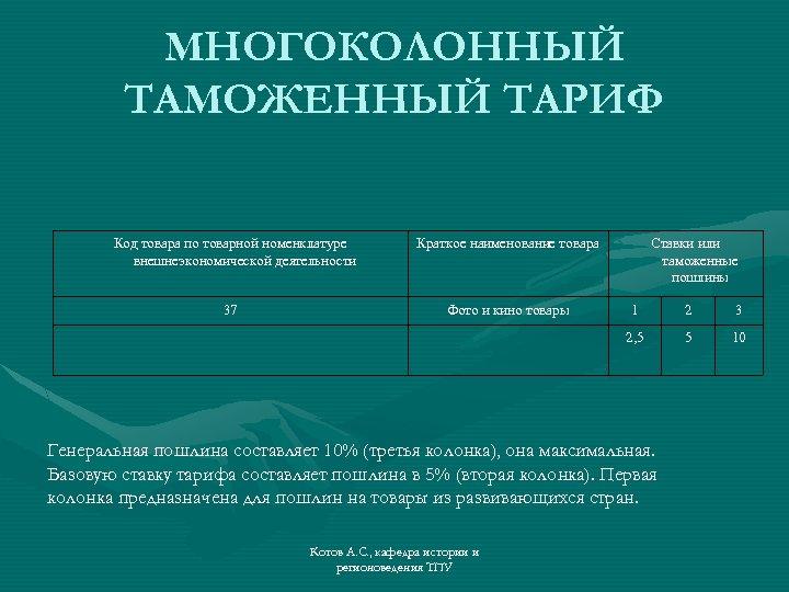 МНОГОКОЛОННЫЙ ТАМОЖЕННЫЙ ТАРИФ Код товара по товарной номенклатуре внешнеэкономической деятельности 37 Краткое наименование товара