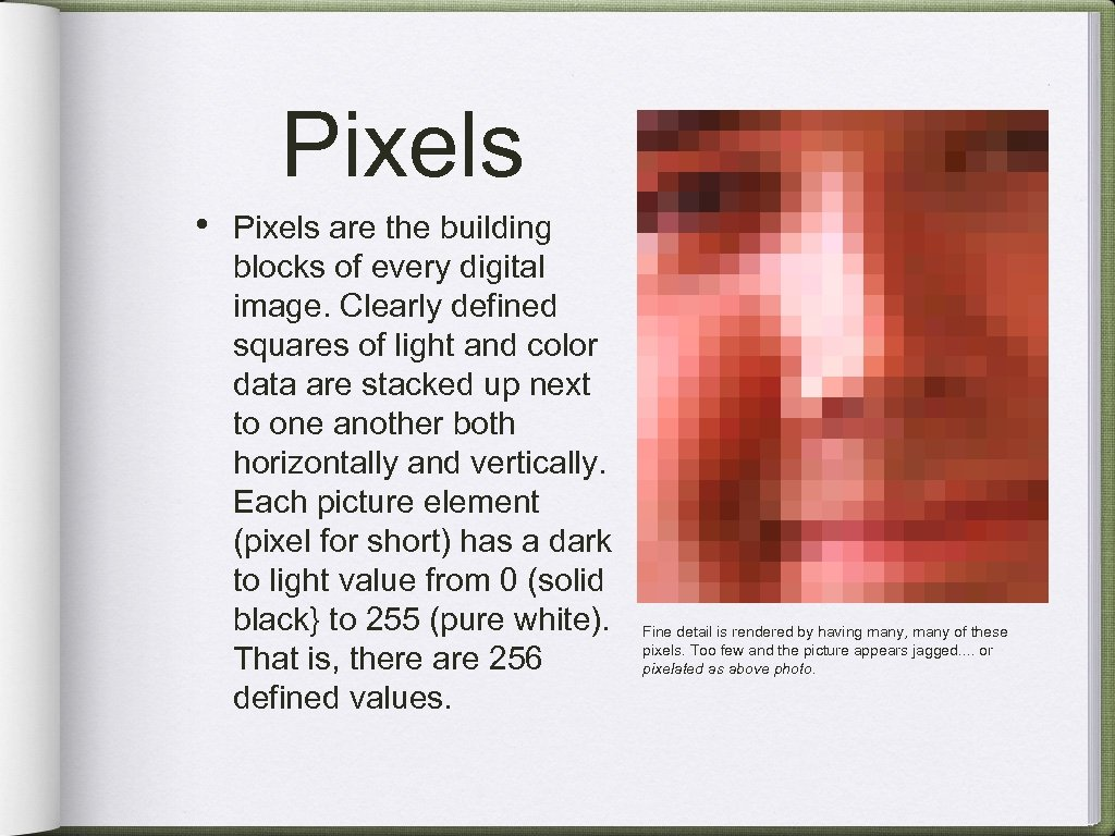 Pixels • Pixels are the building blocks of every digital image. Clearly defined squares