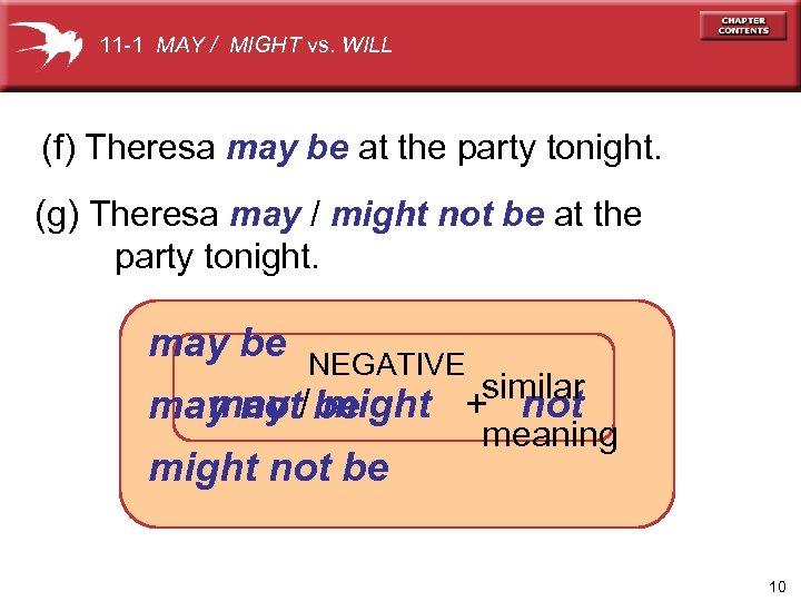 11 -1 MAY / MIGHT vs. WILL (f) Theresa may be at the party