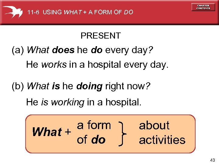 11 -6 USING WHAT + A FORM OF DO PRESENT (a) What does he