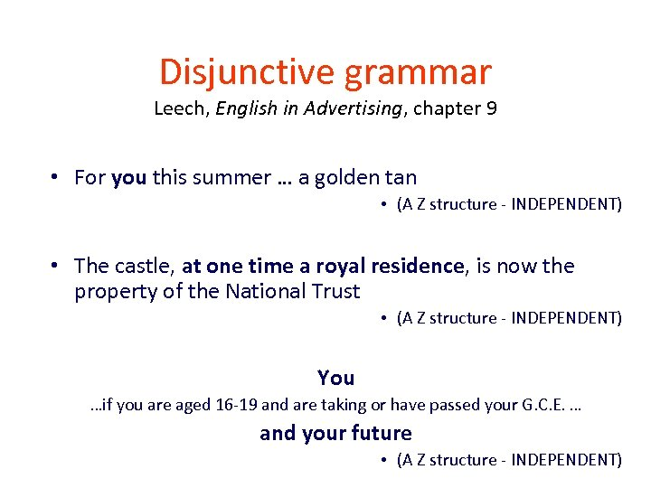 Disjunctive grammar Leech, English in Advertising, chapter 9 • For you this summer …