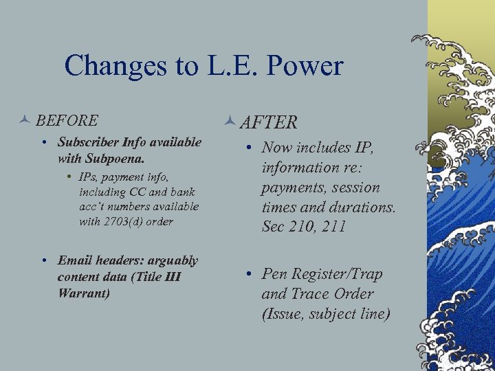 Changes to L. E. Power © BEFORE • Subscriber Info available with Subpoena. •