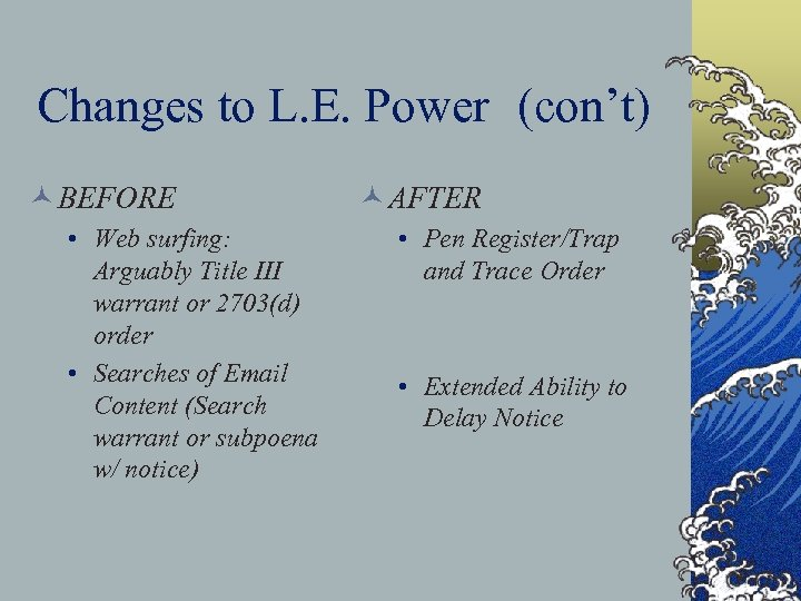 Changes to L. E. Power (con't) © BEFORE • Web surfing: Arguably Title III