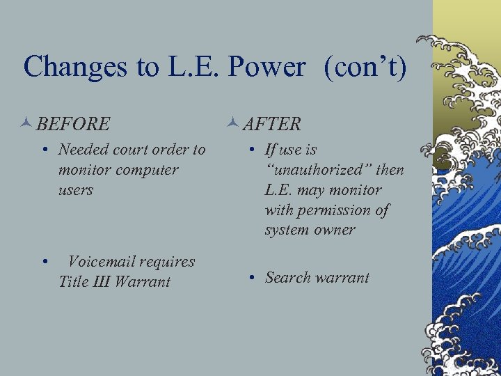 Changes to L. E. Power (con't) © BEFORE • Needed court order to monitor