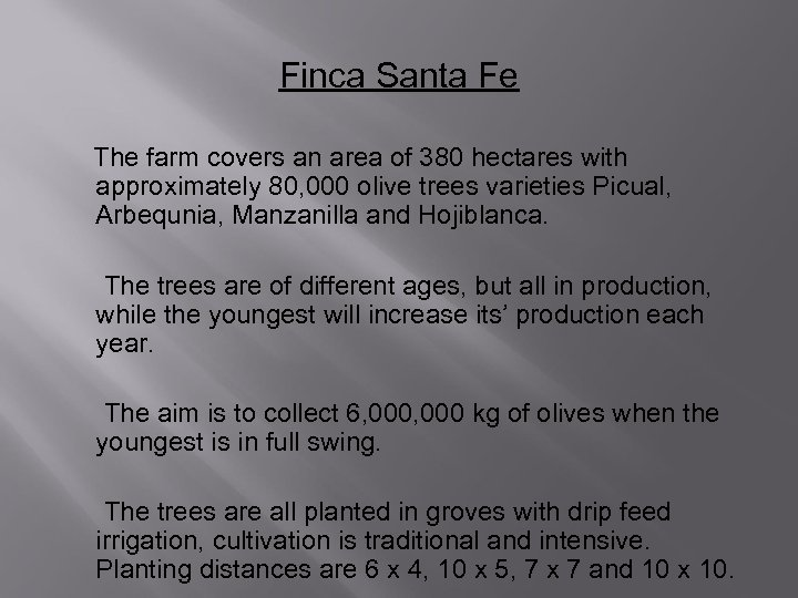 Finca Santa Fe The farm covers an area of 380 hectares with approximately 80,