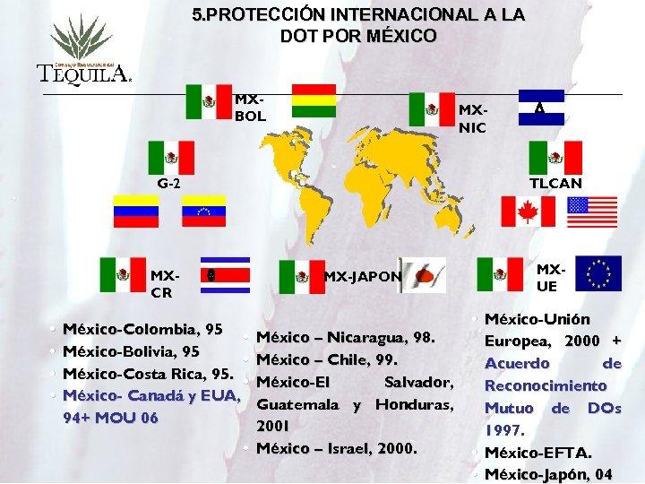 5. PROTECCIÓN INTERNACIONAL A LA DOT POR MÉXICO MXBOL MXNIC G-2 TLCAN MXCR •