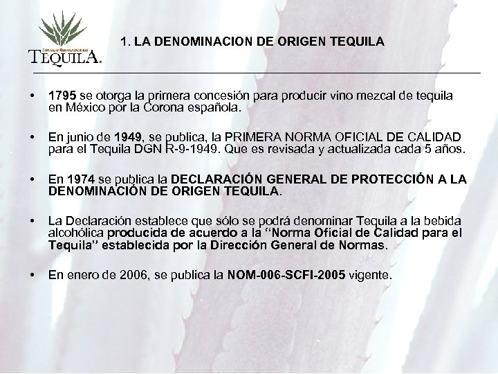 1. LA DENOMINACION DE ORIGEN TEQUILA • 1795 se otorga la primera concesión para