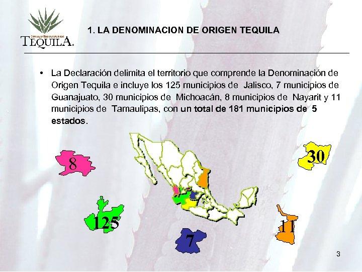 1. LA DENOMINACION DE ORIGEN TEQUILA • La Declaración delimita el territorio que comprende