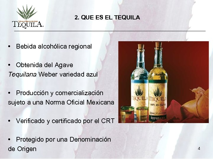 2. QUE ES EL TEQUILA • Bebida alcohólica regional • Obtenida del Agave Tequilana
