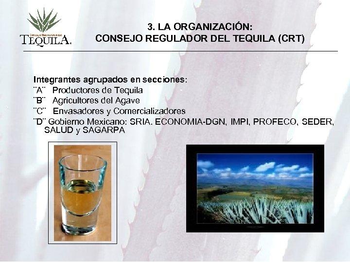 3. LA ORGANIZACIÓN: CONSEJO REGULADOR DEL TEQUILA (CRT) Integrantes agrupados en secciones: ¨A¨ Productores