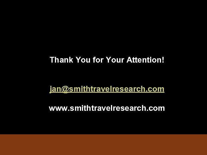 Thank You for Your Attention! jan@smithtravelresearch. com www. smithtravelresearch. com
