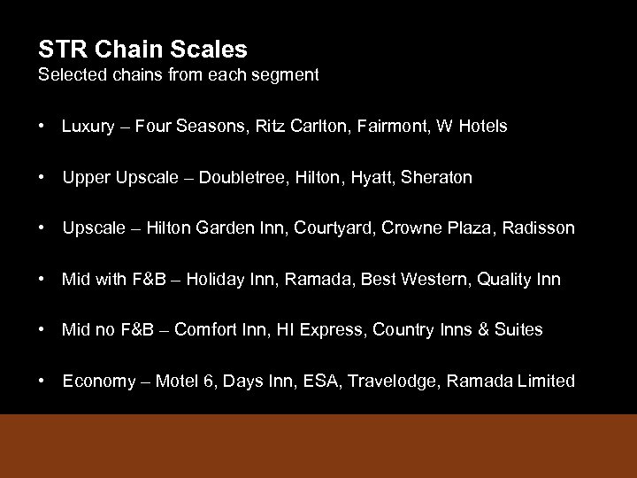 STR Chain Scales Selected chains from each segment • Luxury – Four Seasons, Ritz
